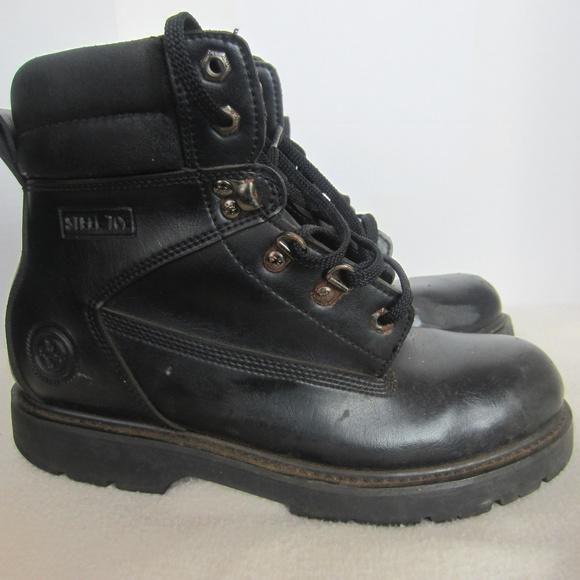 Wrangler Black Leather Steel Toe Work